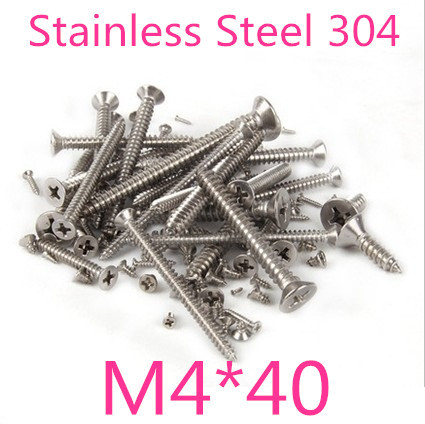 100pcs/lot M4*40 M4 Stainless Steel  Flat Head micro electronic cross recessed phillips countersunk self tapping screw<br><br>Aliexpress