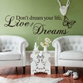 Creative Wall Decors for Home Decor Removable English Letters With Butterfly Wall Stickers For Living Room