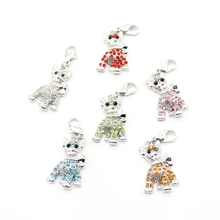 Brand New Fashion Lobster Clasp Charms Pendants Dangle Full Rhinestone Lucky Cat Charms Animals DIY Jewelry Accessories(China (Mainland))