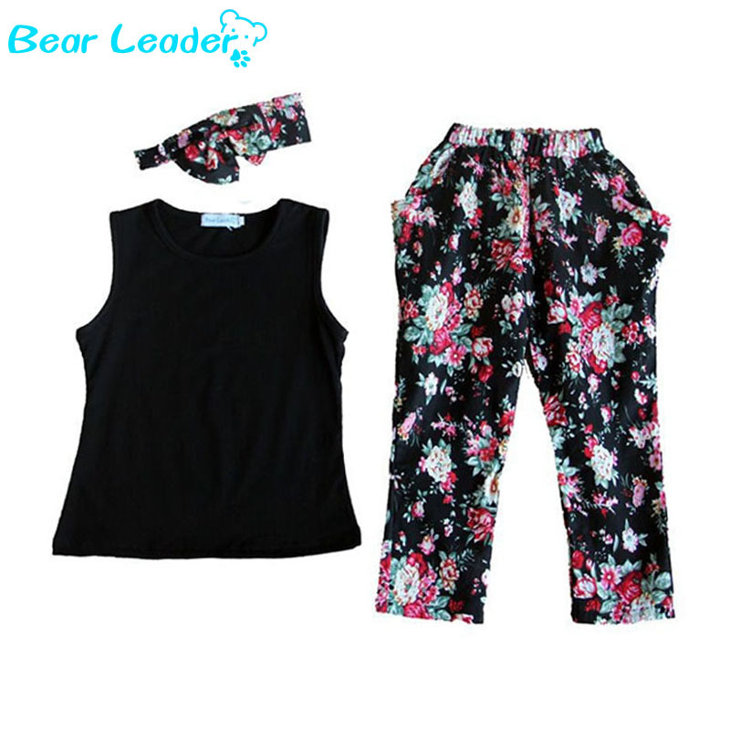 Bear Leader Girls Fashion floral casual suit children clothing set sleeveless outfit +headband 2015 summer new kids clothes set(China (Mainland))