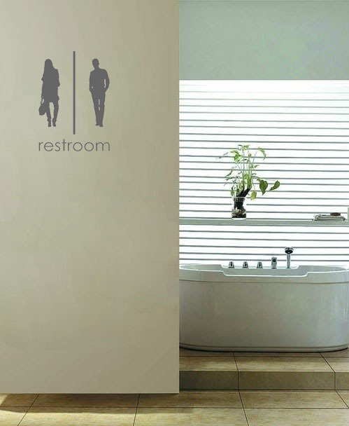 Unisex Bathroom Signs vinyl wall quote for home(China (Mainland))