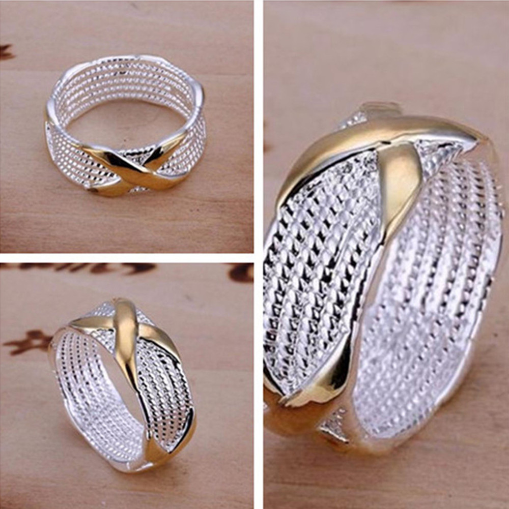 Popular Fashion Jewelry Style X Letter Simple Circle Finger Rings Silver Plated Copper Man Women Ring Size 6 7 8 9 JE631 - xycharm store