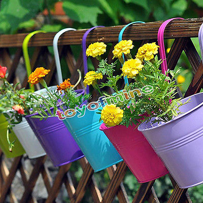 10 COLOR Colorful Hanging Artificial Flower Metal Iron Flower Pot Hanging Balcony Garden Plant Planter Home Decor(China (Mainland))