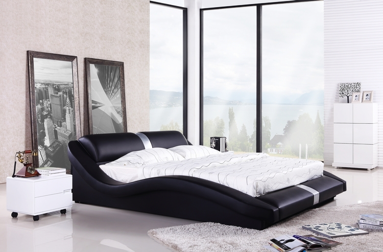 Bedroom furniture european modern design top grain for Bed styles images