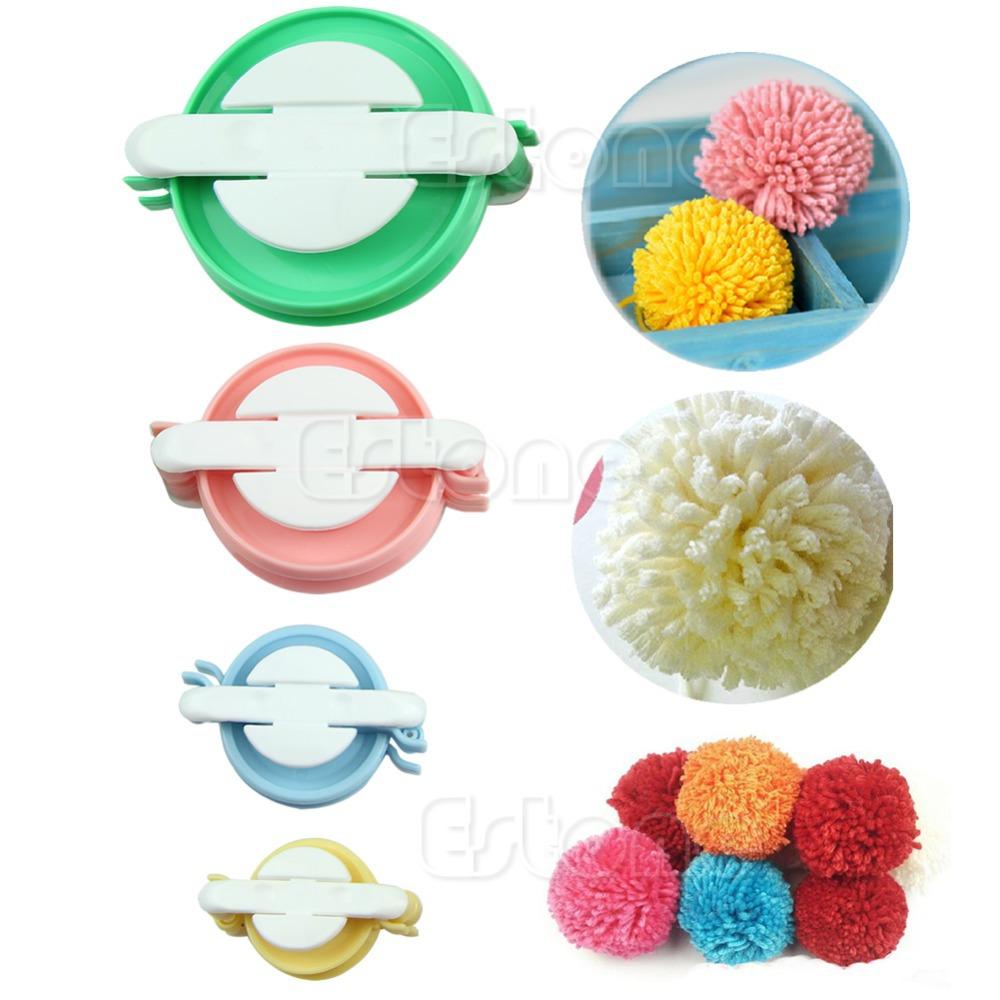 4 Sizes Pompom Maker Fluff Ball Needle Weaver Knitting Wool Tool DIY Craft Set Free Shipping(China (Mainland))