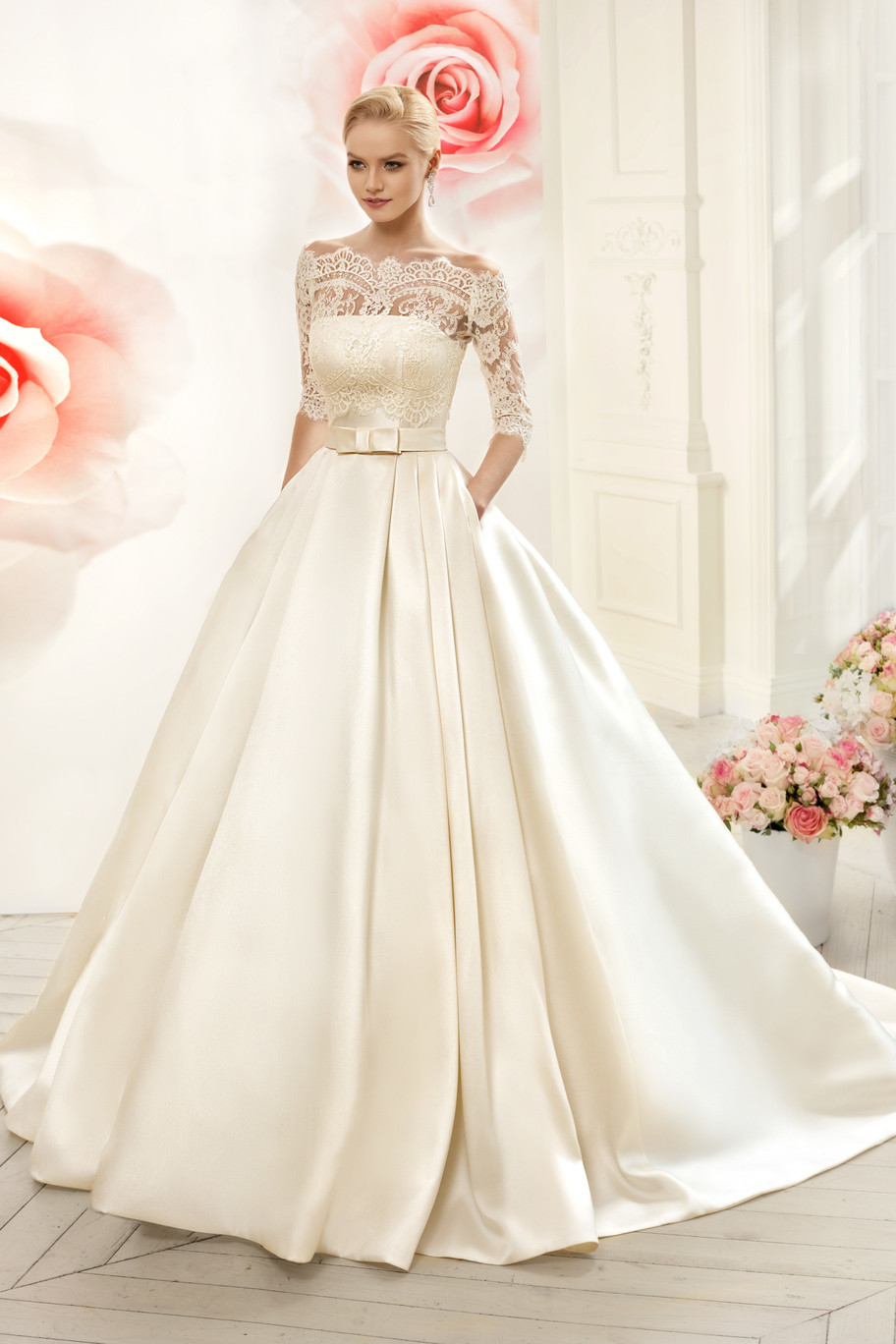 Beautiful new model strapless satin wedding dresses with for Wedding dress long sleeve lace jacket