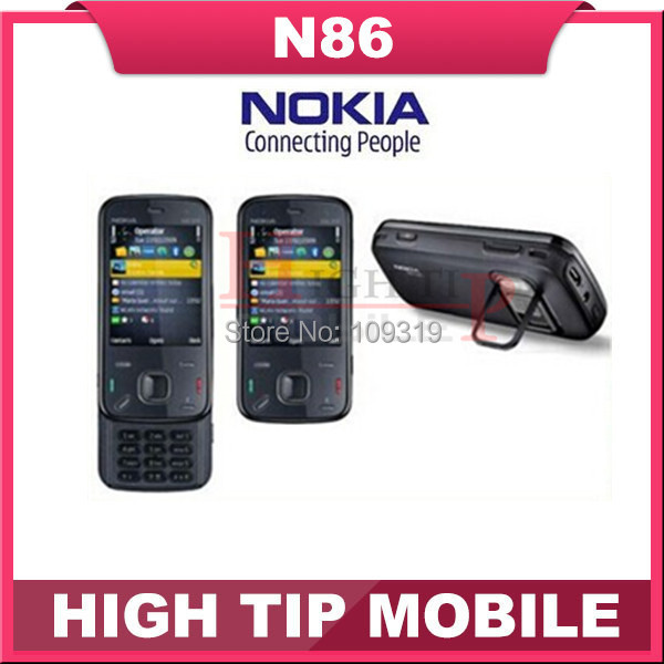 Russian keyboard support Nokia N86 original unlocked GSM 3G WIFI GPS 8MP Mobile phone Black&White Refurbished free shipping(China (Mainland))