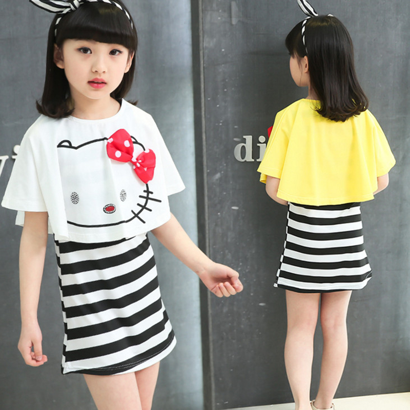 2016 New Summer Kids Clothes Girls Dress Baby Girls Dress Set Children Hello Kitty Girl Boutique Clothing Sets 4 6 8 10 12 Years(China (Mainland))