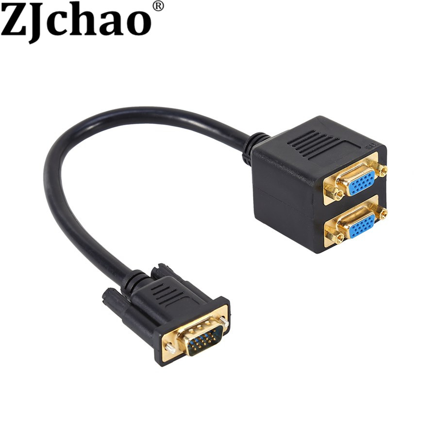 VGA 1 Male to Dual 2 VGA Female Converter Adapter Splitter Y Video Cable for Computer Monitor(China (Mainland))