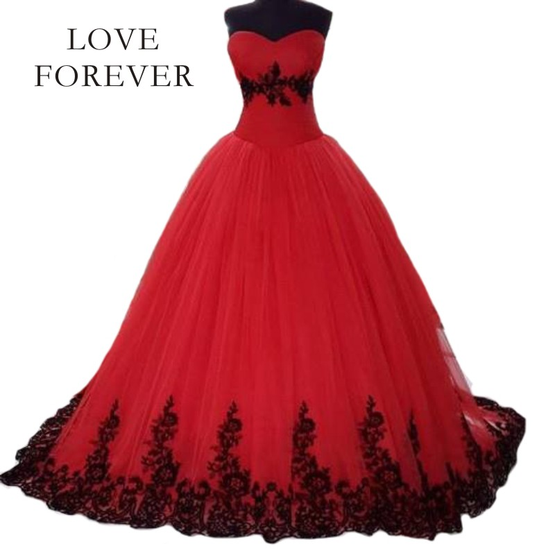 Red Wedding Dresses With Black Lace : Red ball gown wedding dress vestido de noiva black