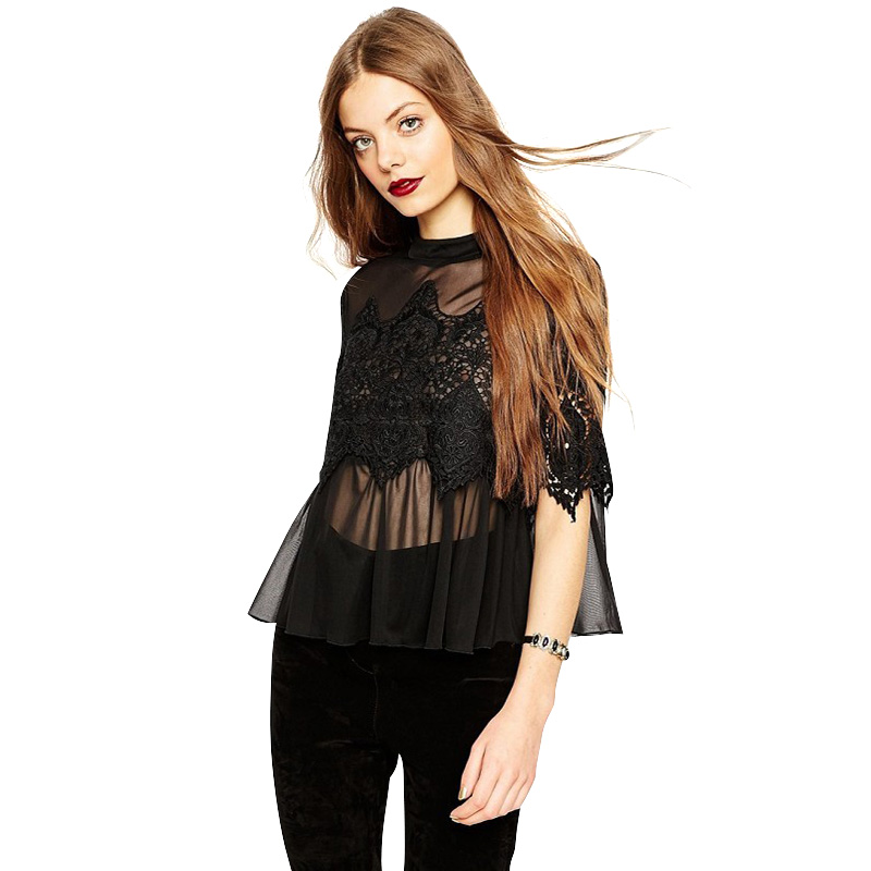 PDL45 Spring Fashion women sexy lace patchwork mesh see through black blouse stand collar ruffle Half sleeve blusa feminina(China (Mainland))