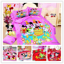 Festival Birthday Happy Mickey Minnie mouse cotton bedding sets for children kids twin full size cartoon comforter set bed sheet(China (Mainland))
