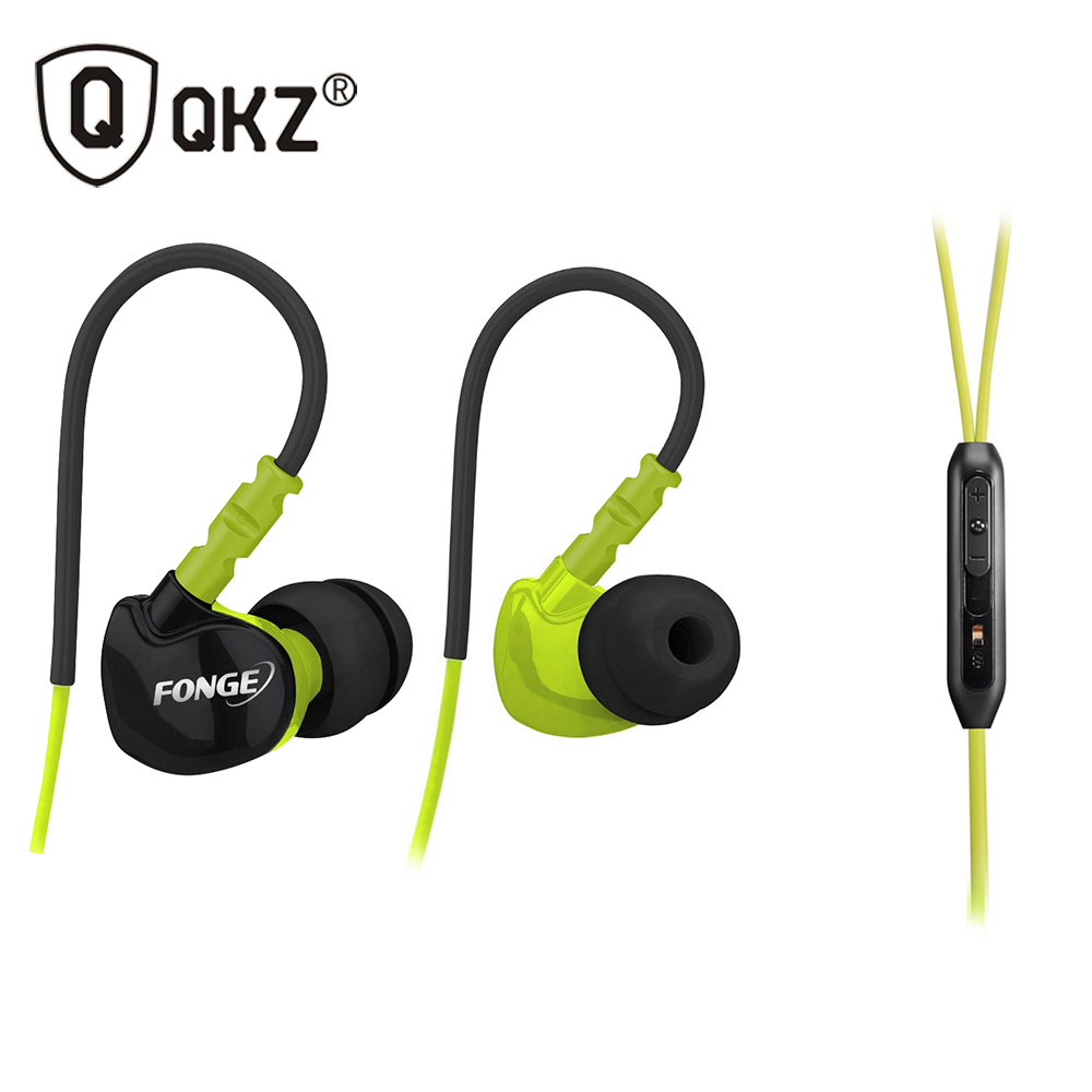 QKZ F1 Sports Earphones Running Waterproof Sweatproof IPX5 with mic in ear earhook Music Headset Mobile