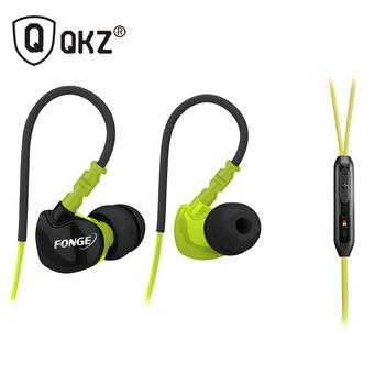 Qkz F1 спортивные наушники запуск водонепроницаемый Sweatproof IPX5 с микрофоном в-ухо с креплением-крючком музыку гарнитура мобильного стерео бас спорт-бесплатная Fi