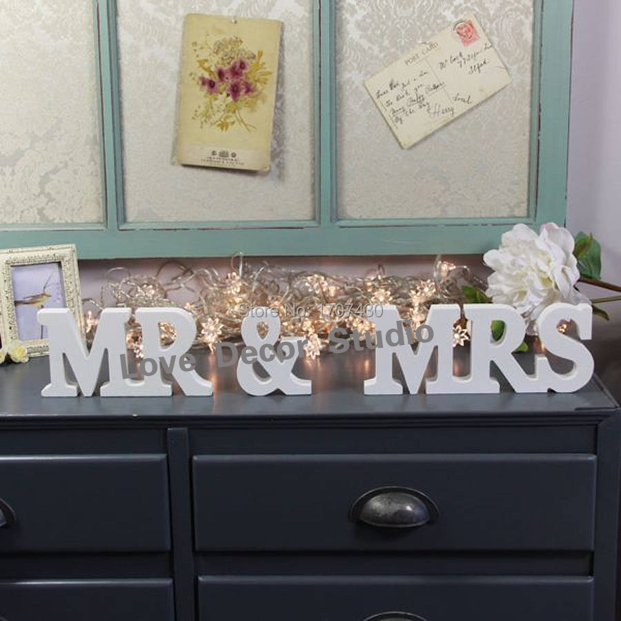Free shipping large personalised mr mrs wooden letters for Mr price home christmas decor