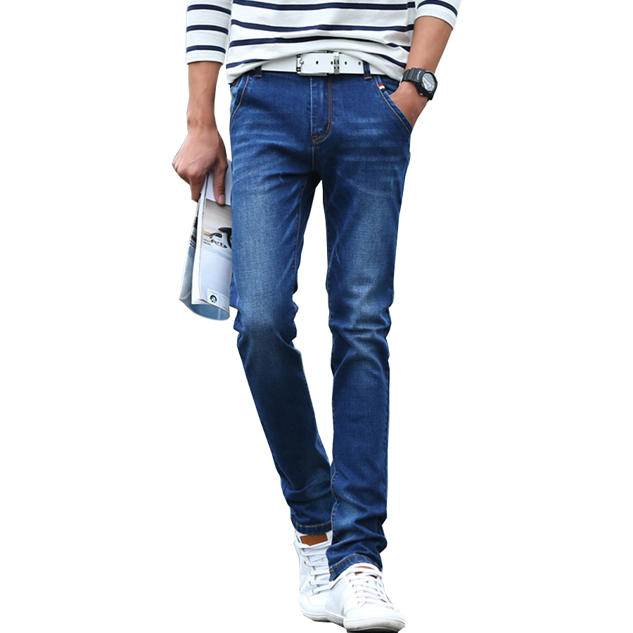 2016 mens skinny jeans for men denim jeans homme slim fit vintage style blue straight jeans. Black Bedroom Furniture Sets. Home Design Ideas