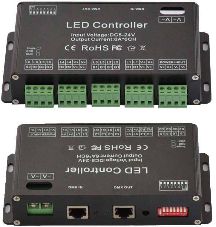 6Channel RGB DMX EASY LED controller DMX decoder&driver LED strip module lamp(China (Mainland))