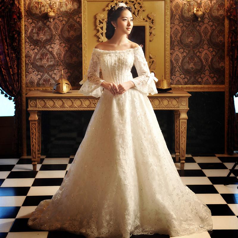 2013 sweet lace train bridal wedding dress formal dress for Victorian lace wedding dresses