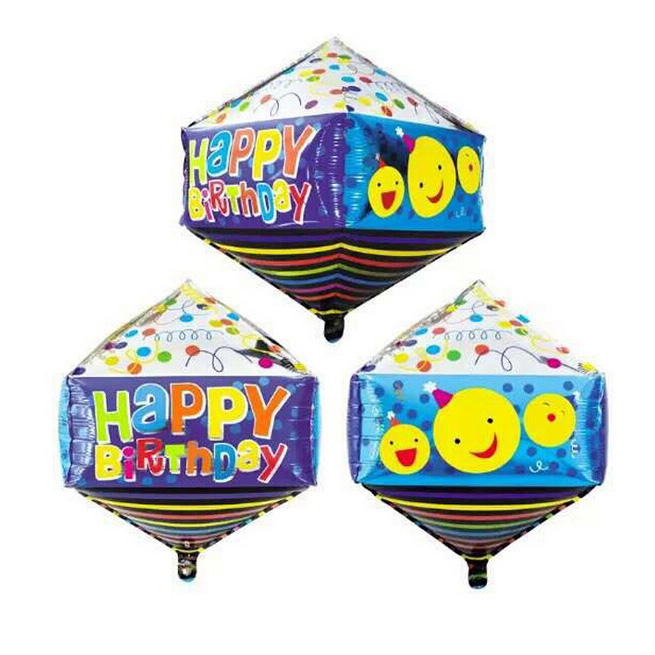 Happy Birthday Printed Cube Shape Foil Balloon,Flatable Promotion Mylar Balloon for Birthday Celebrate(China (Mainland))