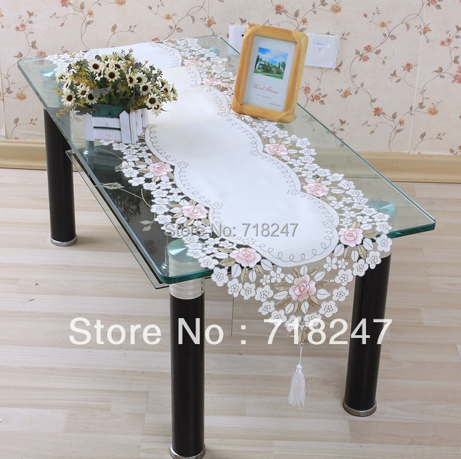Sale 40*200cm Elegant 100% Polyester Floral Table Runner Embroidery Tablecloth Embroidered Table Cloth Linen Cover Cutwork TCE05(China (Mainland))