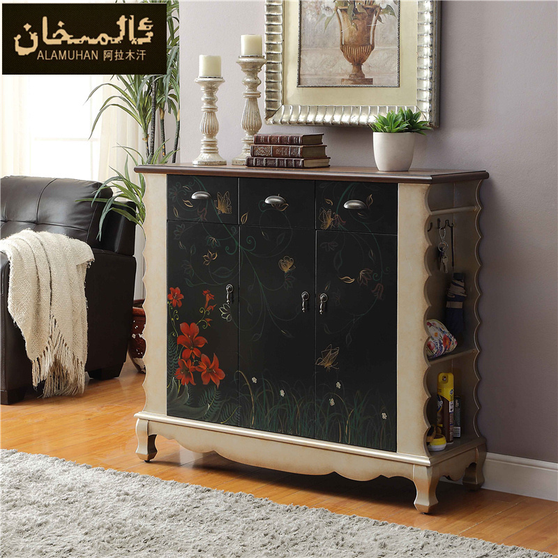 ems free shoe racks chest of drawers solid wood entrance foyer shoe cabinet simple retro storage. Black Bedroom Furniture Sets. Home Design Ideas