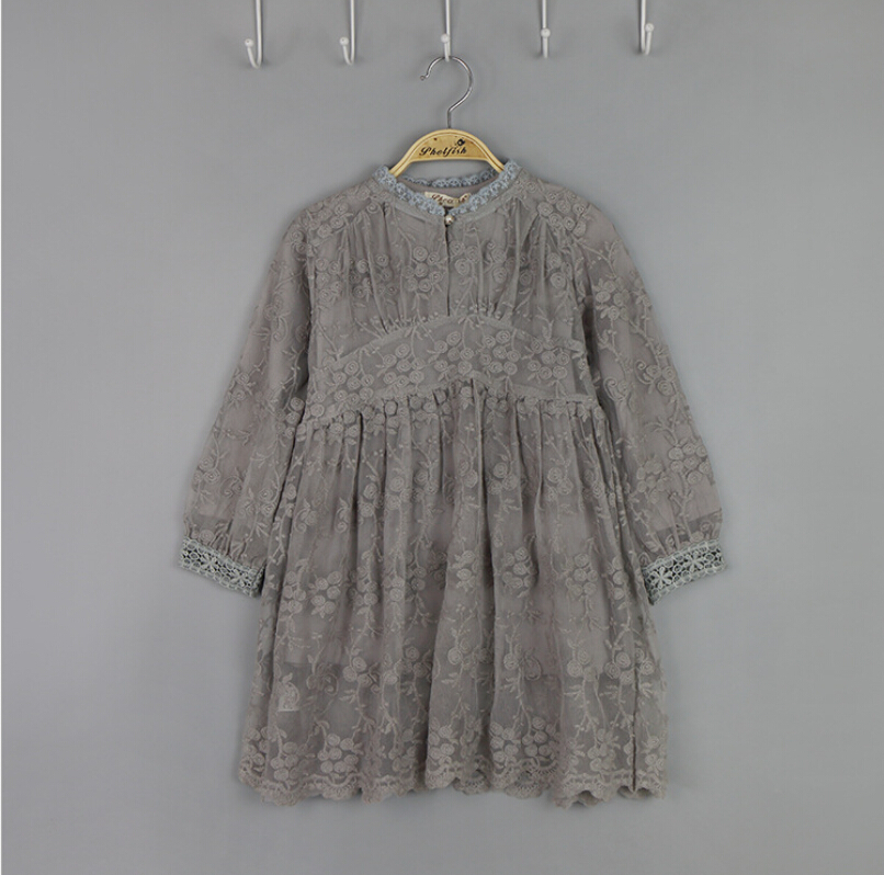 New Fairy Baby Girls Lace Dresses Sets, Princess Boutique Floral Long Sleeve Dresses 5 sets/lot, Wholesale(China (Mainland))