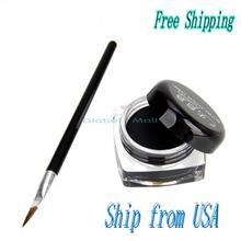 Ship From USA Professional Makeup Eye Liner Eyeliner Curd and Eyeliner Brush Set Black 10004077