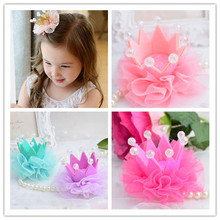1pcs Beautiful Girls Dancing Party Hair Clips Crown Beads Princess Barrette Photography accessoires