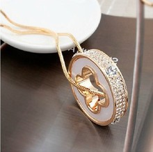 Hollow Vintage 80cm Long Snake Chain Round Four Leaf Clover Necklace for Lovers' Gift Fine Jewelry(China (Mainland))