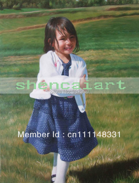 Wholesale 100% handmade children  portrait painting on canvas by professional artists free shipping