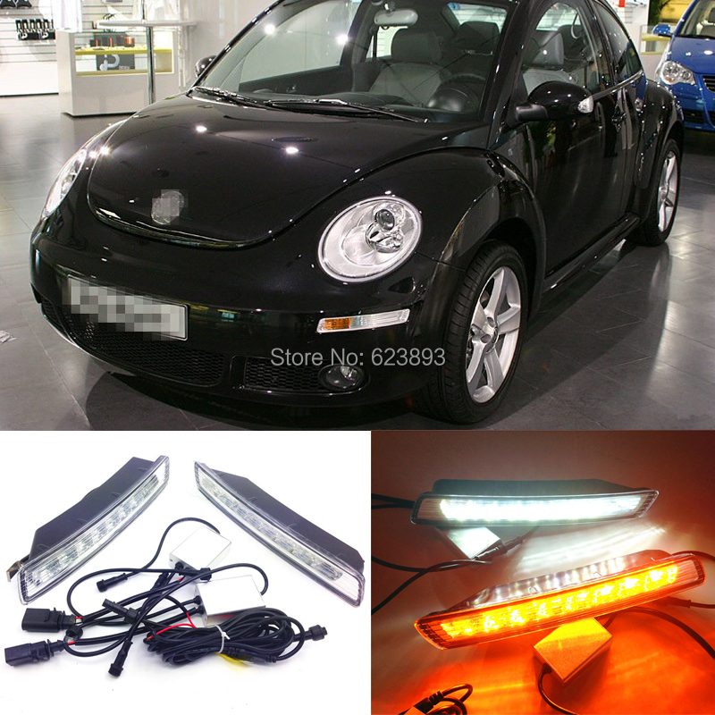 For Vw Volkswagen Beetle 2007 ~ 2010 Super bright 8 OSRAM chip LED DRL daytime running lights with turning signal light(China (Mainland))