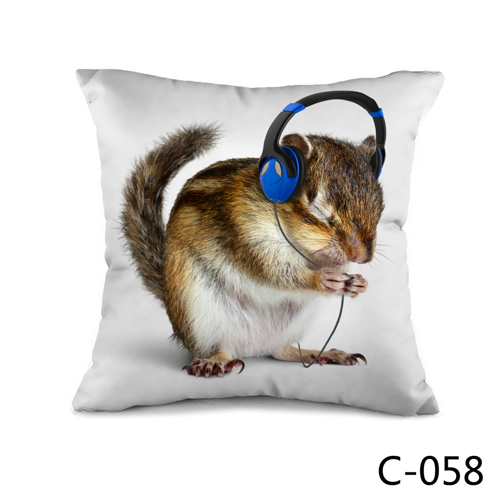 Squirrel Listening To Music Throw or Bed Cushion with filler or without filler for two Choice(China (Mainland))