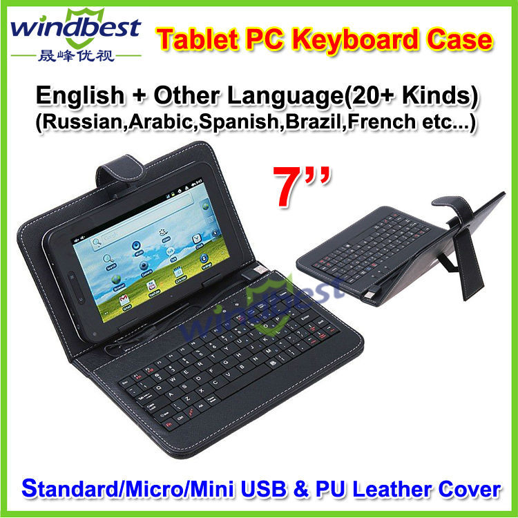 2015 New Customerized Language Russian,Spanish,Korean e.t.c 7''/7 Inch Universal Android Tablet PC USB Keyboard PU Leather Case(China (Mainland))