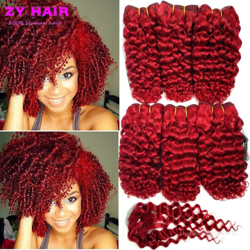 Borgona Pure Red Short Curly Wave Weave Brazilian onda del cuerpo Ombre rojo paquete armadura del pelo for Coming Summer(China (Mainland))