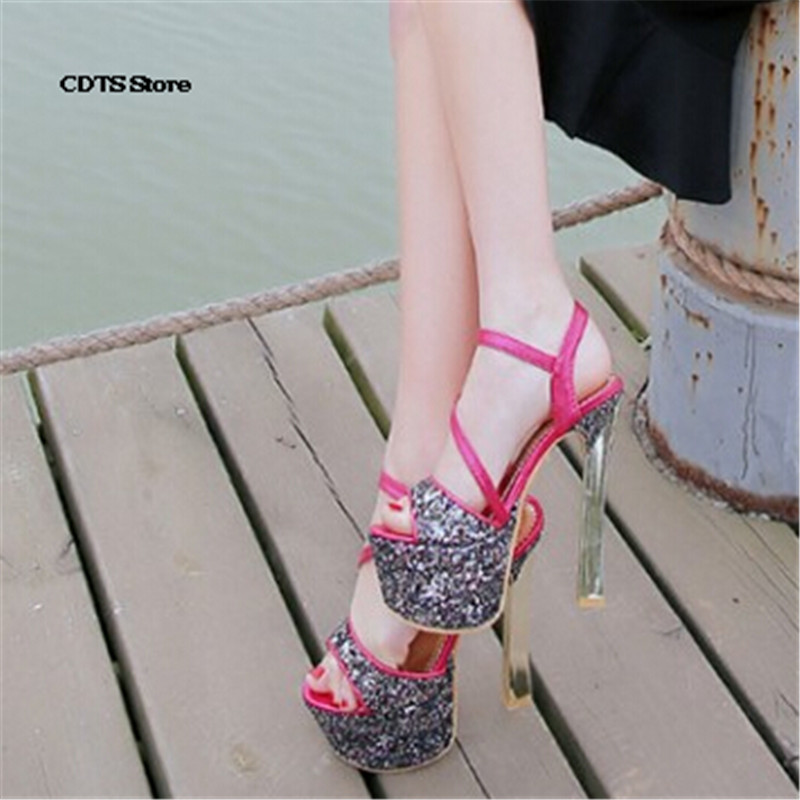 CDTS Crossdresser:33-40 Summer Buckle Sandals 16cm Ultra high thick heels female paillette stage shoes gold silver wedding pumps(China (Mainland))