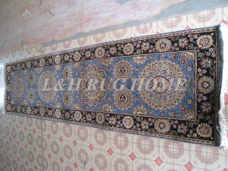 Free shipping 2.5'x9' 160 Line persian woolen carpet , hand knotted persian runner Oriental handmade Persian Rug mixed colors(China (Mainland))