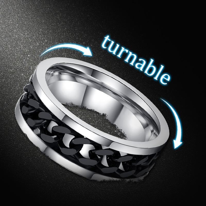 Buy Fashion Spinner Black Chain Ring For Men Stainless Steel