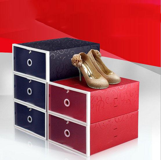 Wholesale 6pcs New 2014 Black/Red Plastic Shoe Box Multifunction Storage Boxes Folding Case  Plastic Shoe Box For Women(China (Mainland))