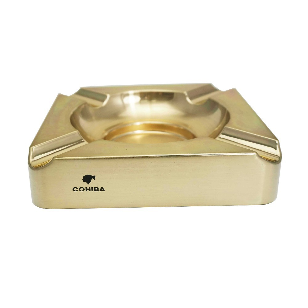 COHIBA Yellow Golden Square 4 Cigar Titanium Metal Ashtray Holder(China (Mainland))