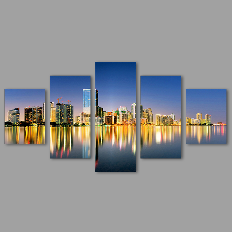 Modern city still night river 5 pcs scene Decoration Canvas sunset scene living room printed painting on wall Hanging unframed(China (Mainland))