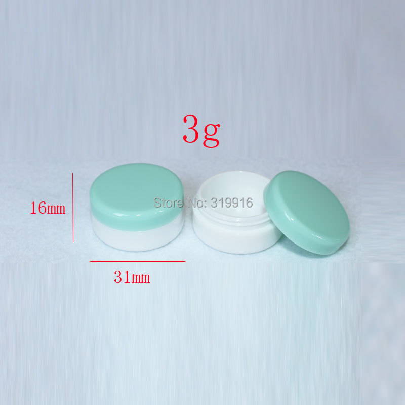 3g x100 white cyan empty cosmetic sample container with cap, Mini plastic bottle jar , plastic container for cosmetic packaging(China (Mainland))