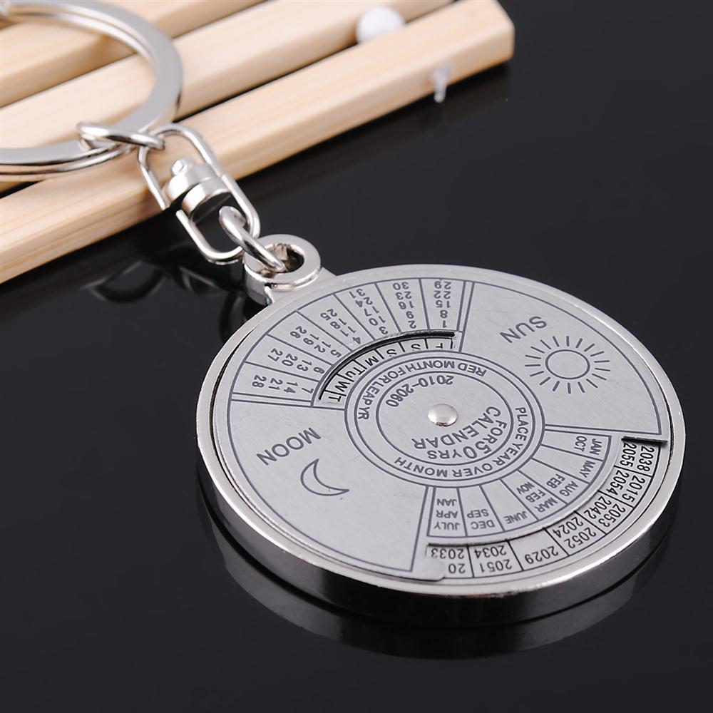 Super Perpetual Calendar Unique Metal Key Chain Ring Retro 50 Years Keyring KeyChain Sun Moon Compass(China (Mainland))