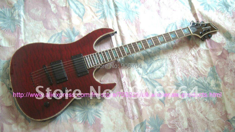 Brand new purple guitars quilted top Electric guitar colorful binding inlay strings through body free shipping(China (Mainland))