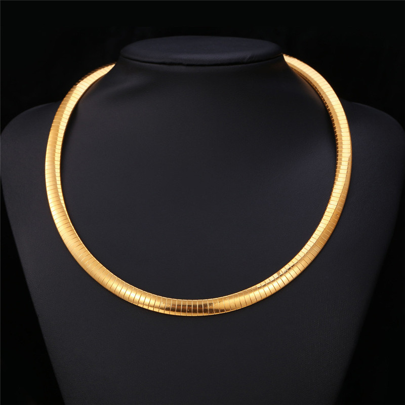Gold Snack Choker Necklaces Men Chain Flat snake Jewelry 18K Real Gold Plated 361L Stainless Steel New Trendy Fashion Women N212(China (Mainland))
