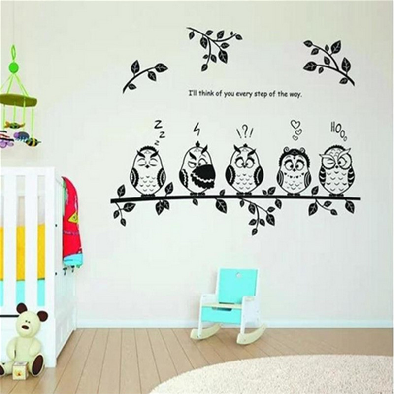 DIY forest happy family owls on the plant tree branch vinyl pvc wall stickers mural art decor for kids room quote wall decals(China (Mainland))