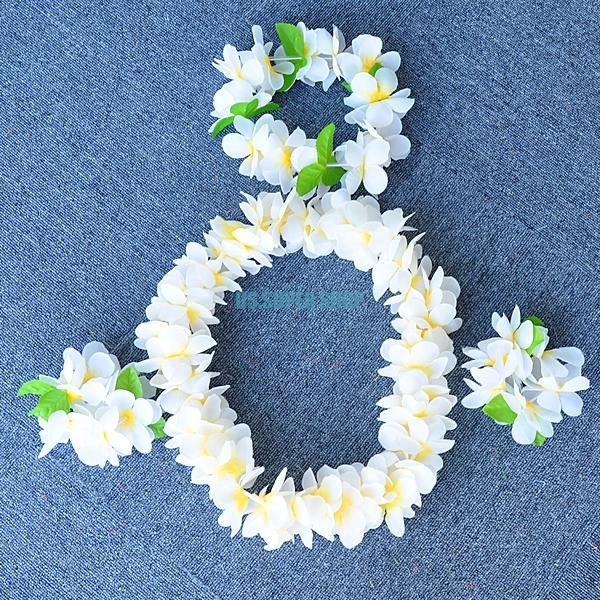 Fancy Dress Hawaiian Floral Luau Headband Necklace Garland Lei Set ES3081(China (Mainland))