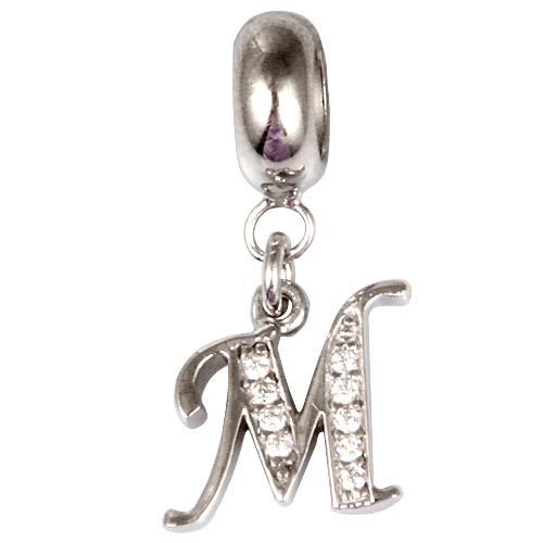 2015 original new products fit for Pandora charm bracelet & necklace 925 Sterling Silver Alphabet M Slide Pendant Charm Beads(China (Mainland))