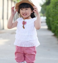 Summer Lace T-Shirt Lattice Shorts Pants Children Clothing Sets Girl Clothes 2 Colors(China (Mainland))