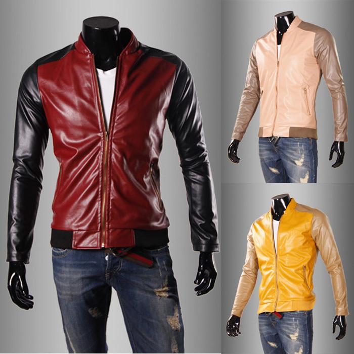 coat 2014 Hot Sale Men New Fashion slim Splice Short PU jacktes coat size M/L/XL/XXL man jacket(China (Mainland))