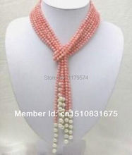 Women with long layers of jewelry hot free Shipping new Fashion Style diy Pink Coral Freshwater Pearl Necklace AAA 50 inch AAA(China (Mainland))